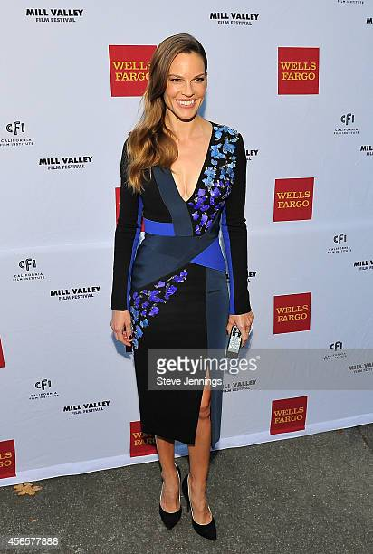 Hilary Swank arrives on the red carpet at the Mill Valley Film Festival on October 2 2014 in Mill Valley California Sharp is celebrating high...