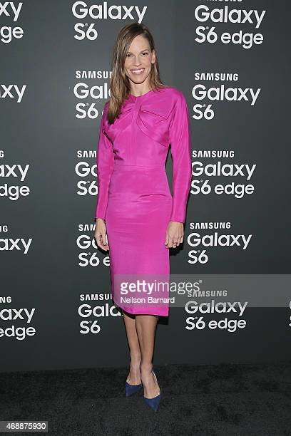 Hilary Swank arrives on the red carpet at the Samsung Galaxy S 6 edge launch in New York City on April 7 2015 in New York City