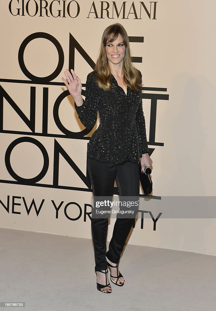 <a gi-track='captionPersonalityLinkClicked' href=/galleries/search?phrase=Hilary+Swank&family=editorial&specificpeople=201692 ng-click='$event.stopPropagation()'>Hilary Swank</a> attends Armani - One Night Only New York at SuperPier on October 24, 2013 in New York City.