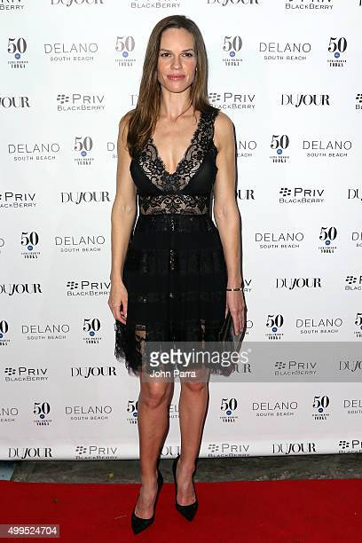 Hilary Swank attends DuJour Magazine's Jason Binn Celebrates Annual Art Basel Miami Beach KickOff Party at Delano Beach Club on December 1 2015 in...