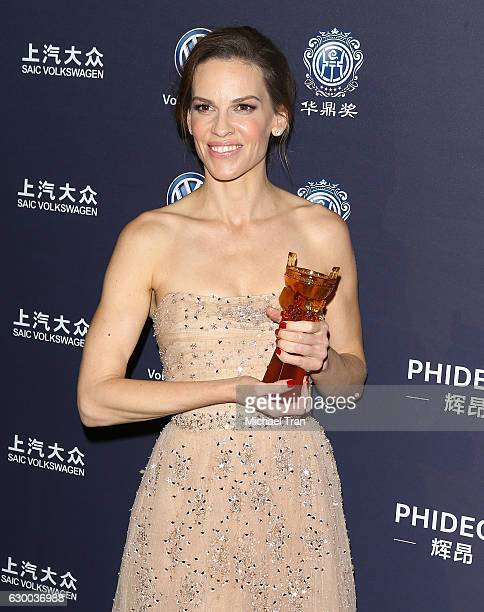 Hilary Swank attends the 21st Annual Huading Global Film Awards press room held at The Theatre at Ace Hotel on December 15 2016 in Los Angeles...