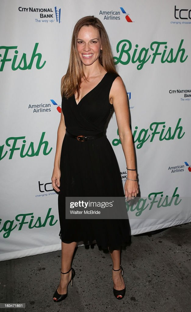 <a gi-track='captionPersonalityLinkClicked' href=/galleries/search?phrase=Hilary+Swank&family=editorial&specificpeople=201692 ng-click='$event.stopPropagation()'>Hilary Swank</a> attends the 'Big Fish' Broadway Opening Night at Neil Simon Theatre on October 6, 2013 in New York City.