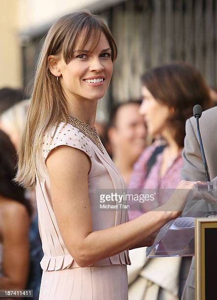 Hilary Swank attends the ceremony honoring Mariska Hargitay with a Star on The Hollywood Walk of Fame on November 8 2013 in Hollywood California