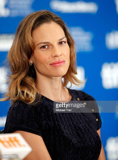 Hilary Swank attends the 'Conviction' press conference during the 2010 Toronto International Film Festival held at the Hyatt Regency on September 13...