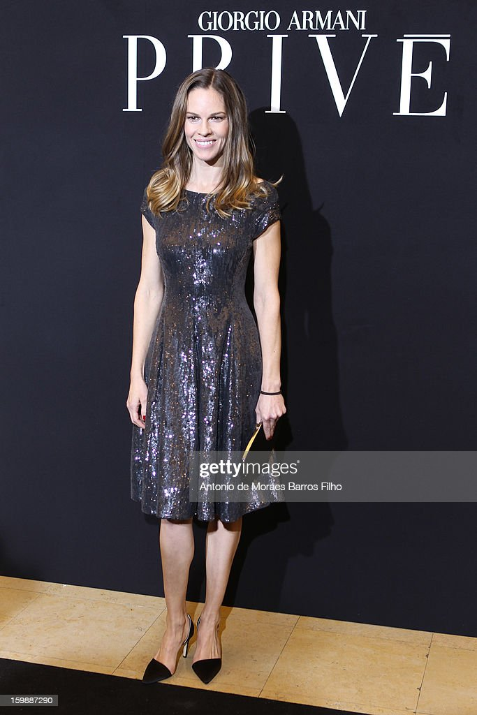 <a gi-track='captionPersonalityLinkClicked' href=/galleries/search?phrase=Hilary+Swank&family=editorial&specificpeople=201692 ng-click='$event.stopPropagation()'>Hilary Swank</a> attends the Giorgio Armani Prive Spring/Summer 2013 Haute-Couture show as part of Paris Fashion Week at Theatre National de Chaillot on January 22, 2013 in Paris, France.