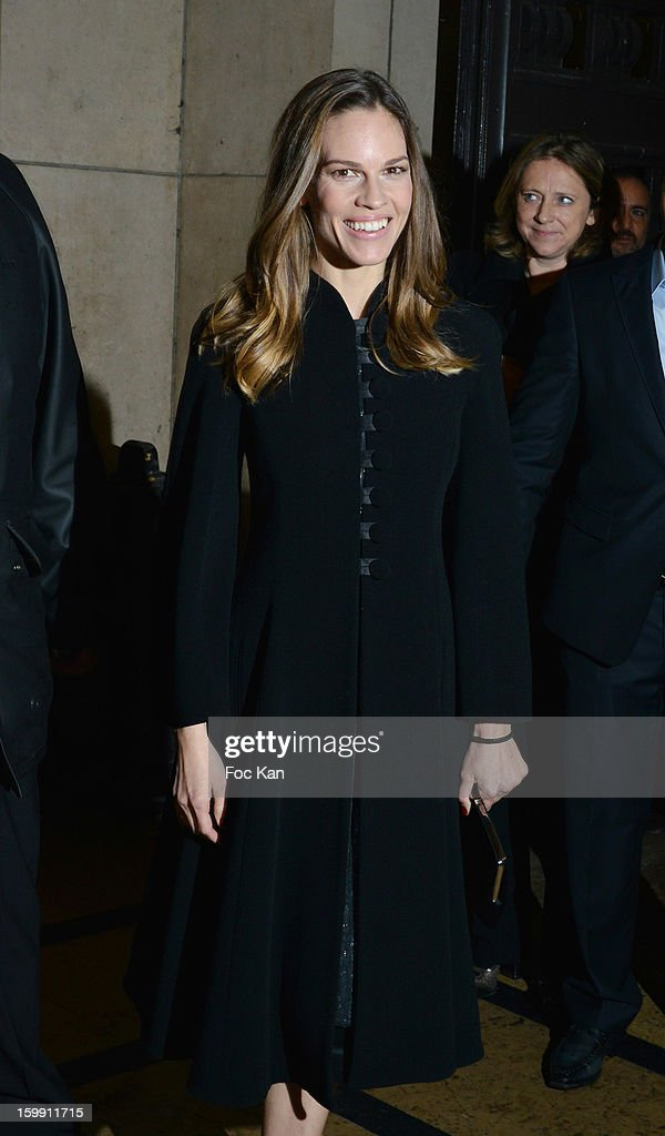 Hilary Swank attends the Giorgio Armani Prive Spring/Summer 2013 Haute-Couture show as part of Paris Fashion Week at Theatre National de Chaillot on January 22, 2013 in Paris, France.