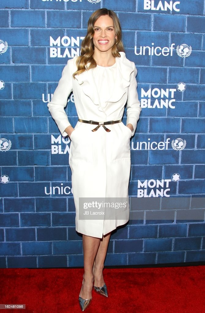 <a gi-track='captionPersonalityLinkClicked' href=/galleries/search?phrase=Hilary+Swank&family=editorial&specificpeople=201692 ng-click='$event.stopPropagation()'>Hilary Swank</a> attends the Montblanc and UNICEF pre-Oscar brunch celebrating their limited edition collection at Hotel Bel-Air on February 23, 2013 in Los Angeles, California.
