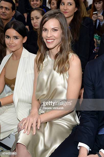 Hilary Swank attends the Salvatore Ferragamo Show during Milan Fashion Week Womenswear Autumn/Winter 2014 on February 23 2014 in Milan Italy