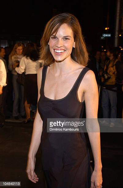 Hilary Swank during MercedesBenz Fashion Week Spring Collections 2003 Marc Jacobs Show Arrivals at Maritime Hotel in New York City New York United...