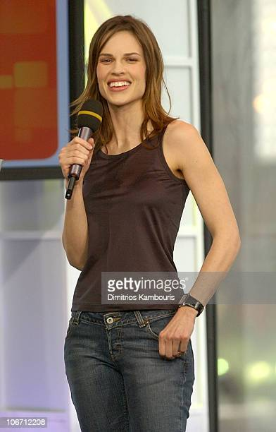 Hilary Swank during Vanessa Olivarez from 'American Idol' and Hilary Swank Visit MTV's 'TRL' March 17 2003 at MTV Studios Times Square in New York...