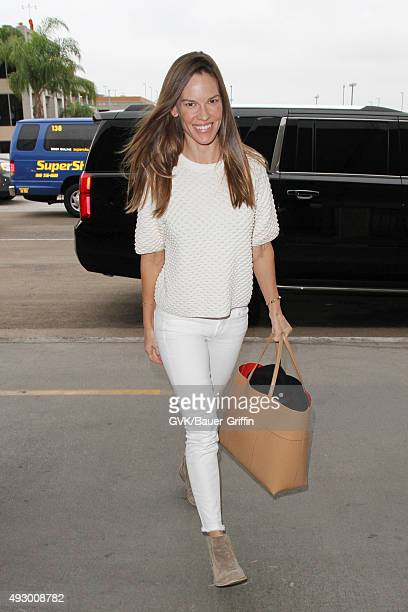 Hilary Swank is seen at LAX on October 16 2015 in Los Angeles California