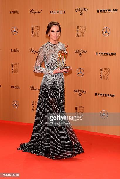 Hilary Swank is seen with her award at the Bambi Awards 2015 winners board at Stage Theater on November 12 2015 in Berlin Germany
