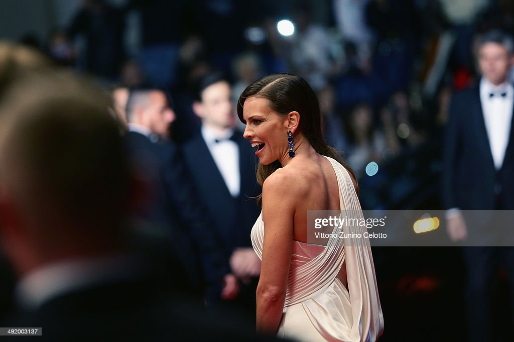 <a gi-track='captionPersonalityLinkClicked' href=/galleries/search?phrase=Hilary+Swank&family=editorial&specificpeople=201692 ng-click='$event.stopPropagation()'>Hilary Swank</a> leaves 'The Homesman' premiere during the 67th Annual Cannes Film Festival on May 18, 2014 in Cannes, France.
