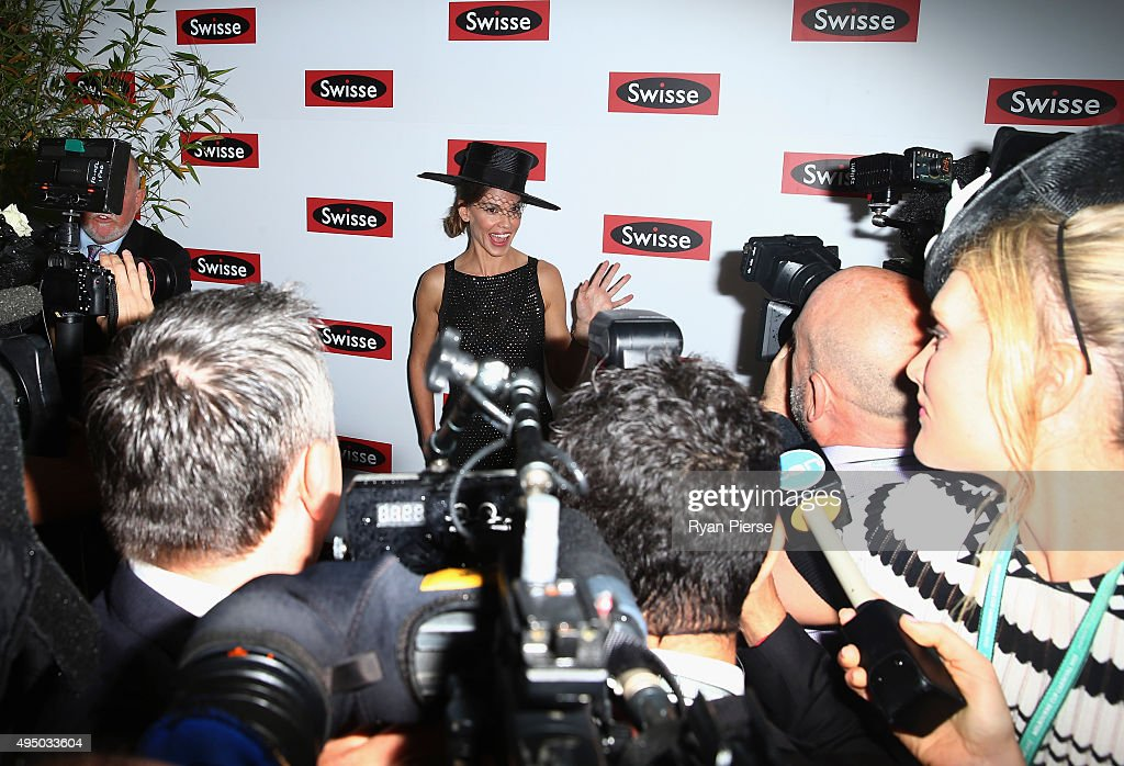 Hilary Swank poses at the Swisse Marquee on Derby Day at Flemington Racecourse on October 31 2015 in Melbourne Australia