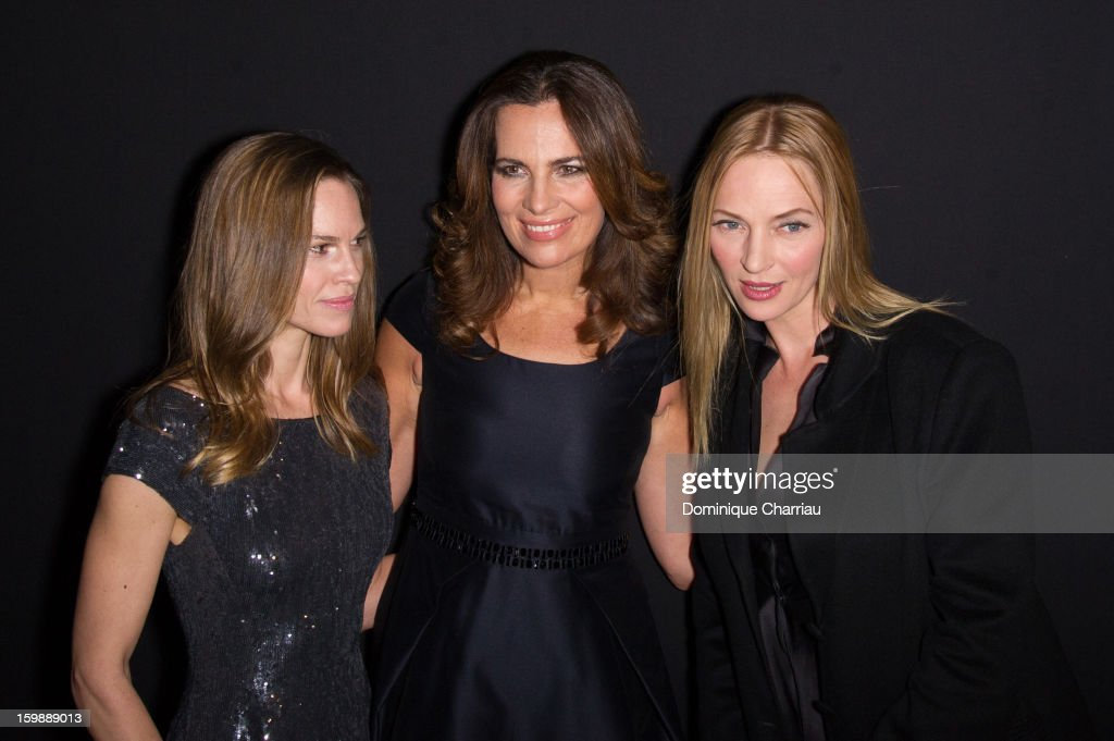 <a gi-track='captionPersonalityLinkClicked' href=/galleries/search?phrase=Hilary+Swank&family=editorial&specificpeople=201692 ng-click='$event.stopPropagation()'>Hilary Swank</a>, <a gi-track='captionPersonalityLinkClicked' href=/galleries/search?phrase=Roberta+Armani&family=editorial&specificpeople=2082135 ng-click='$event.stopPropagation()'>Roberta Armani</a> and <a gi-track='captionPersonalityLinkClicked' href=/galleries/search?phrase=Uma+Thurman&family=editorial&specificpeople=171973 ng-click='$event.stopPropagation()'>Uma Thurman</a> attend the Giorgio Armani Prive Spring/Summer 2013 Haute-Couture show as part of Paris Fashion Week at Theatre National de Chaillot on January 22, 2013 in Paris, France.