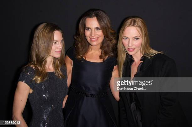 Hilary Swank Roberta Armani and Uma Thurman attend the Giorgio Armani Prive Spring/Summer 2013 HauteCouture show as part of Paris Fashion Week at...