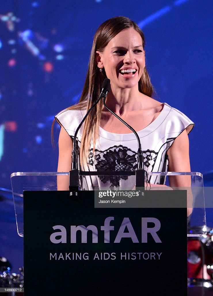 Hilary Swank speaks during the 3rd annual amfAR Inspiration Gala New York at The New York Public Library - Stephen A. Schwarzman Building on June 7, 2012 in New York City.