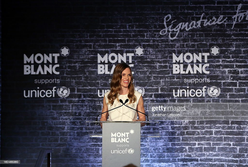 <a gi-track='captionPersonalityLinkClicked' href=/galleries/search?phrase=Hilary+Swank&family=editorial&specificpeople=201692 ng-click='$event.stopPropagation()'>Hilary Swank</a> wearing Montblanc Collection Princesse Grace de Monaco in Red Gold and diamonds speaks at a Pre-Oscar charity brunch hosted by Montblanc and UNICEF to celebrate the launch of their new 'Signature For Good 2013' Initiative with special guest <a gi-track='captionPersonalityLinkClicked' href=/galleries/search?phrase=Hilary+Swank&family=editorial&specificpeople=201692 ng-click='$event.stopPropagation()'>Hilary Swank</a> at Hotel Bel-Air on February 23, 2013 in Los Angeles, California.