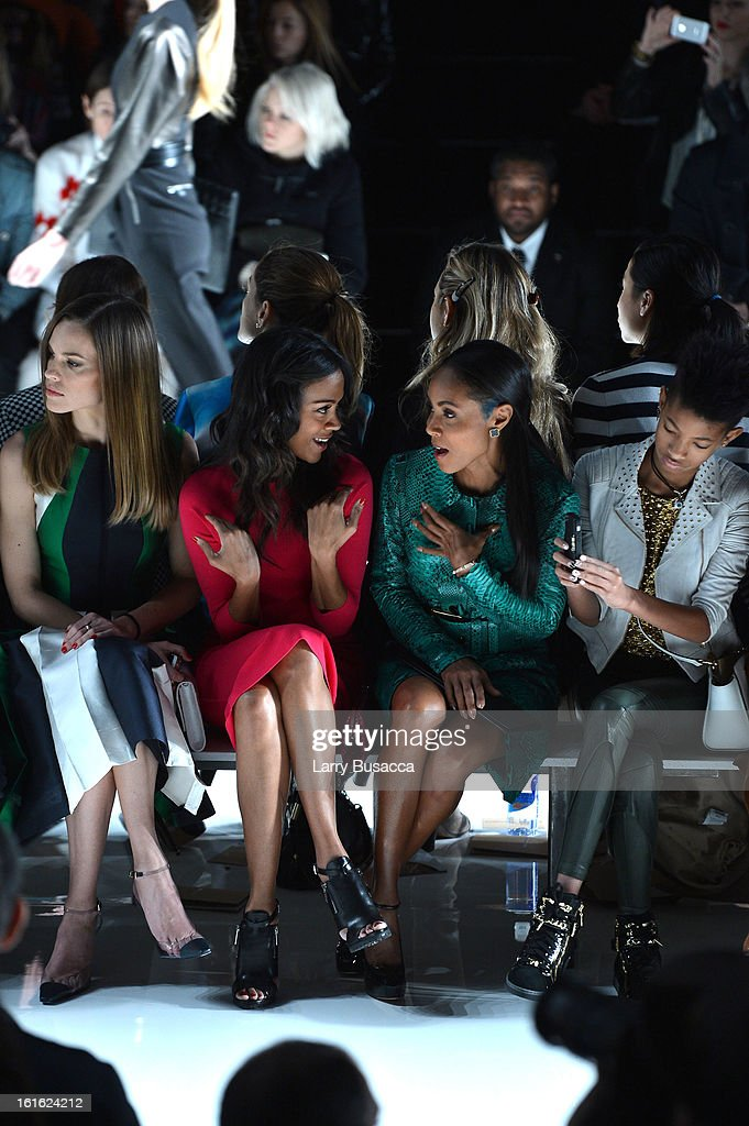 Hilary Swank, Zoe Saldana, Jada Pinkett Smith and Willow Smith attend the Michael Kors Fall 2013 fashion show during Mercedes-Benz Fashion Week at The Theatre at Lincoln Center on February 13, 2013 in New York City.
