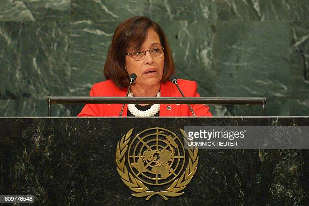 Hilda Heine President of the Marshall Islands addresses the 71st session of the United Nations General Assembly at the UN headquarters in New York on...