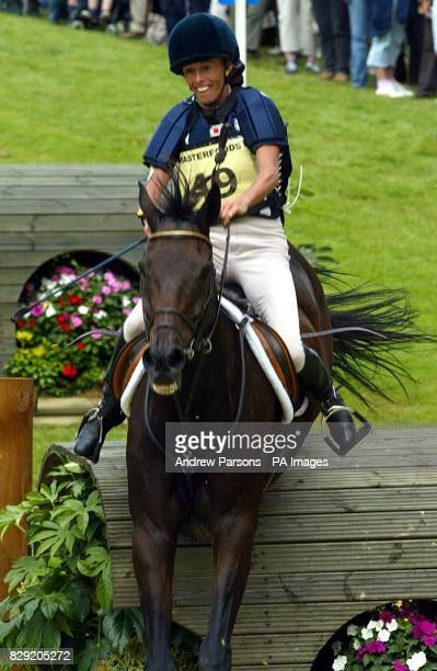 Hilda HickDonahue on Ashmores Scribble from Ireland at the Lower Trout Hatchery at the Burghley Horse Trials Cross Country Event