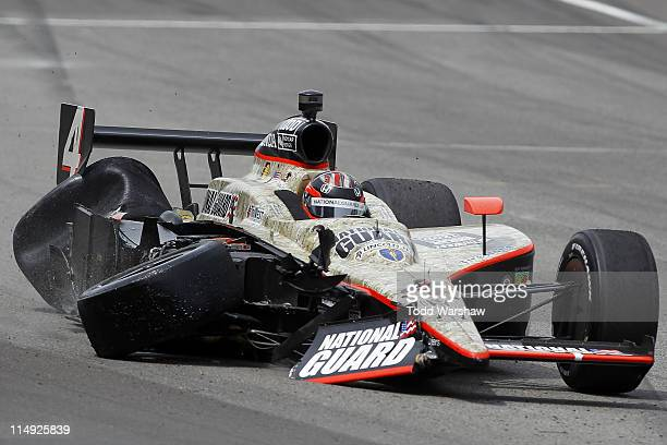 R Hildebrand driver of the National Guard Panther Racing finishes second after crashing during the IZOD IndyCar Series Indianapolis 500 Mile Race at...