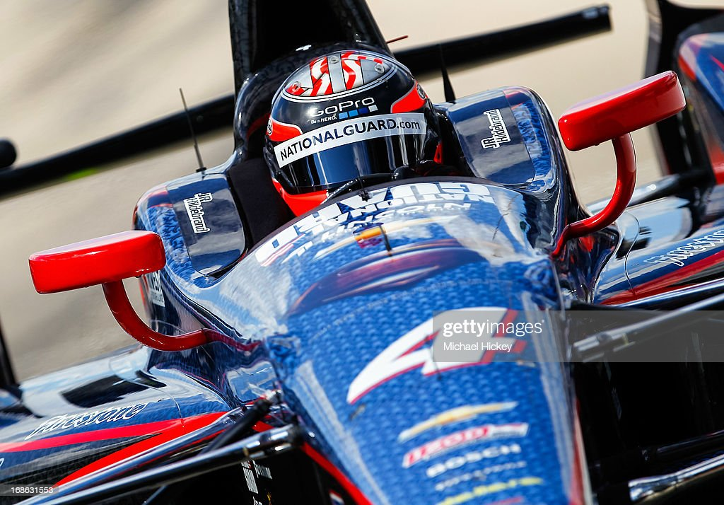 JR Hildebrand, drives the #4 National Guard Panther Racing Chevrolet pulls into his pit stall during Indianapolis 500 practice at the Indianapolis Motor Speedway on May 12, 2013 in Indianapolis, Indiana.