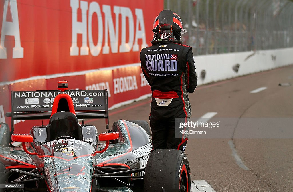 JR Hildebrand, drives the #4 National Guard Panther Racing Dallara Chevrolet reacts to crashing during the Honda Grand Prix of St. Petersburg on March 24, 2013 in St Petersburg, Florida.