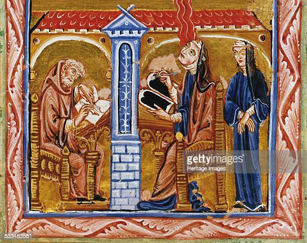 Hildegard receives a vision in the presence of her secretary Volmar and her confidante Richardis ca 12201230 Found in the collection of Biblioteca...