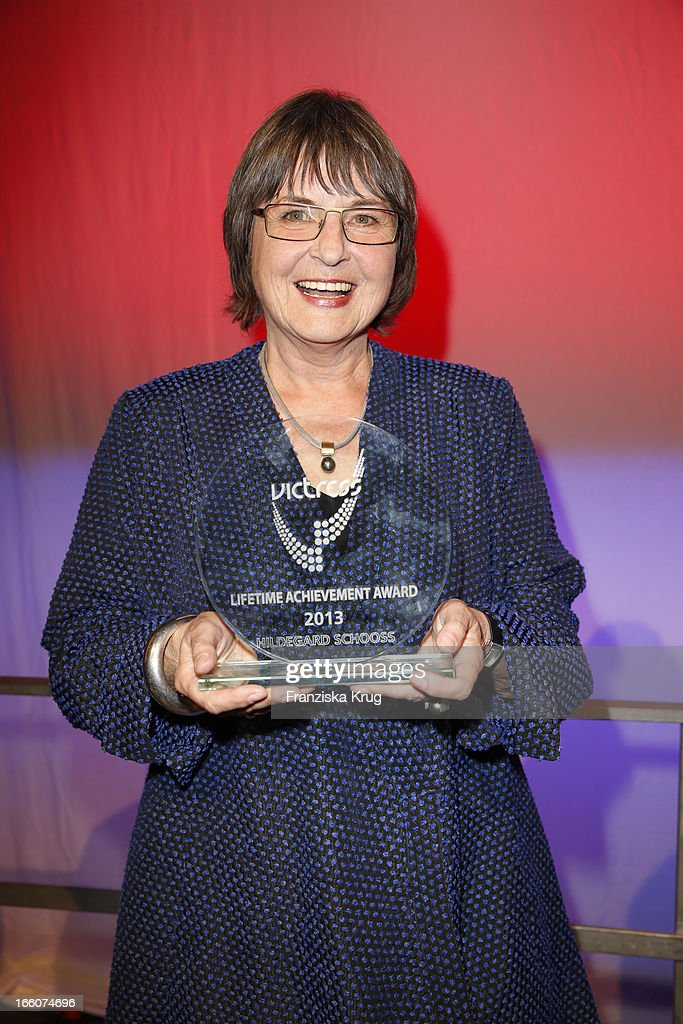 Hildegard Schooss receives an award at the Victress Day Gala 2013 at the MOA Hotel on April 8, 2013 in Berlin, Germany.