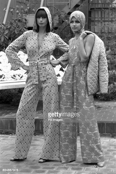 Hilka in McCalls jumpsuit in crimplene polyester and silk in fogerty grey and tower beige which Mary Quant calls 'Dodgem' Yelitza in 'Arabesque'...