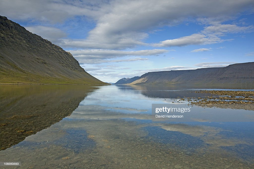 Hill and lake, Dynjandisvogur, Iceland : Stock Photo
