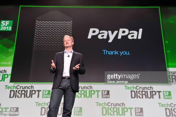 Hill Fergusen of PayPal makes a special product announcement at TechCruch Disrupt SF 2013 at San Francisco Design Center on September 9 2013 in San...