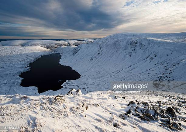 Hill loch in a snowy mountainous landscape.