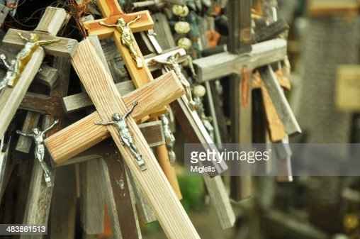 Hill of crosses in Lithuania : Stock Photo