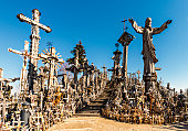 On this public hill giant crucifixes, carvings of Lithuanian patriots, statues of the Virgin Mary and hundred of thousands of different big and tiny effigies and rosaries have been brought here by Cat