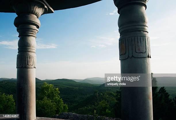 Hill range viewed through a shrine, Srivari Padalu, Narayanagiri Hill, Tirupati, Chittoor District, Andhra Pradesh, India