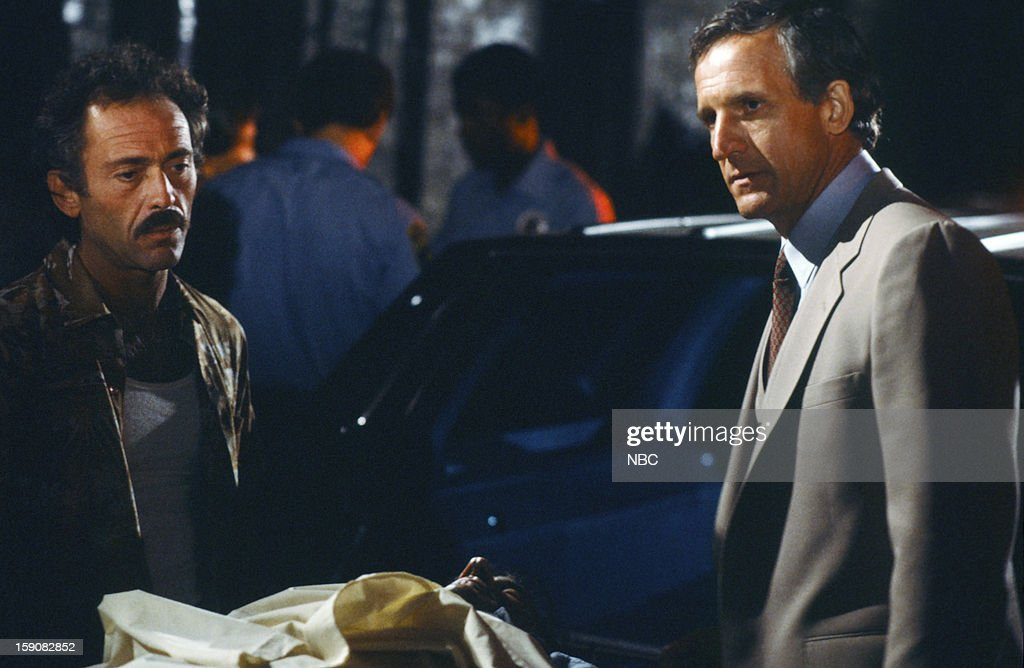 Hill Street Blues -- 'A Case of Klapp' Episode 2 -- Pictured: (l-r) Bruce Weitz as Det. Mick Belker, Daniel J. Travanti as Capt. Frank Furillo --