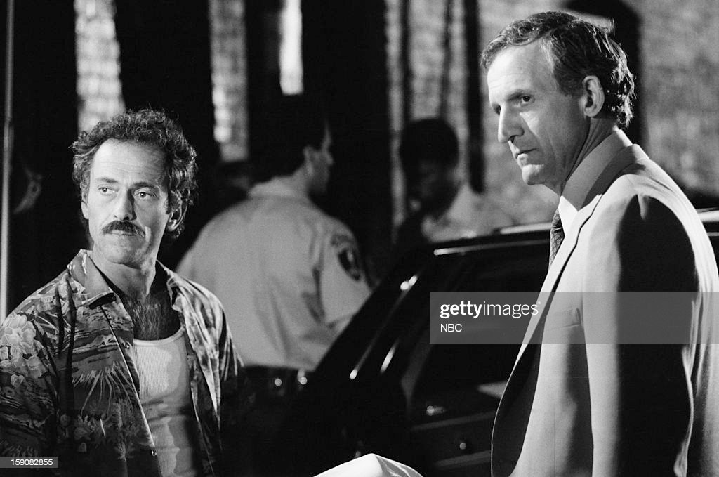 Hill Street Blues -- 'A Case of Klapp' Episode 2 -- Pictured: (l-r) Bruce Weitz as Det. Mick Belker, Daniel J. Travanti as Capt. Frank Furillo --