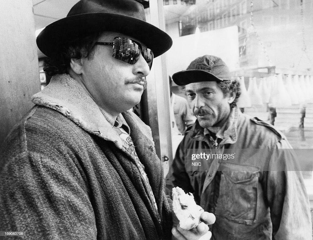 Hill Street Blues -- 'More Skinned Against Than Skinning' Episode 10 -- Pictured: (l-r) Dennis Franz as Lt. Norman Buntz, Bruce Weitz as Det. Mick Belker --