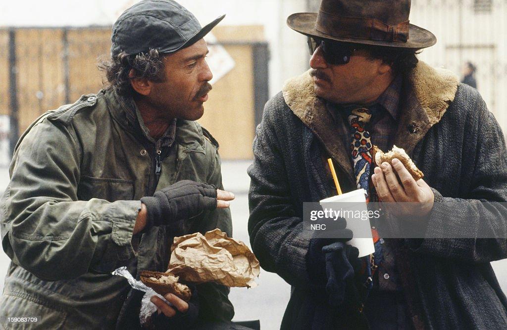 Hill Street Blues -- 'More Skinned Against Than Skinning' Episode 10 -- Pictured: (l-r) Bruce Weitz as Det. Mick Belker, Dennis Franz as Lt. Norman Buntz --