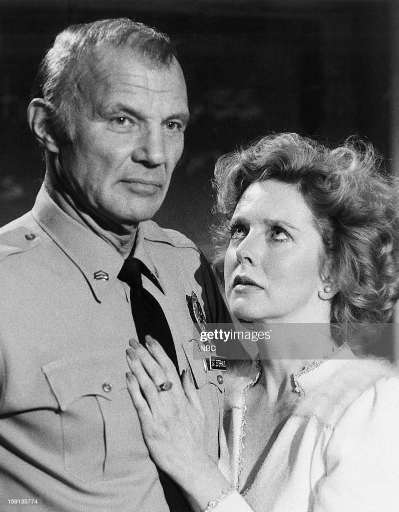 Hill Street Blues -- 'No Body's Perfect' Episode 11 -- Pictured: (l-r) Michael Conrad as Sgt. Phil Esterhaus, Barbara Babcock as Grace Gardner --