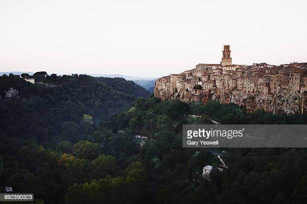 Hill town of Pitigliano at sunset