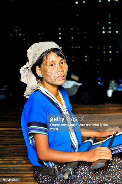 Hill Tribe Woman with Tattoo on Face, Chin State, Myanmar