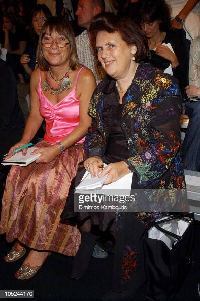 Hillary Alexander and Suzy Menkes during MercedesBenz Fashion Week Spring 2004 Marc Jacobs Front Row at New York State Armory in New York City New...
