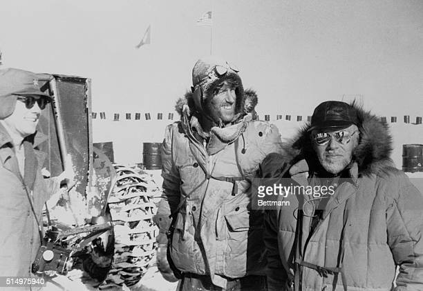 Hillary Arrives at South Pole South Pole Sir Edmund Hillary Lt Vernon Houk and Maj Palle Mogensen stand at South Pole Jan 3rd after beating Dr Vivian...