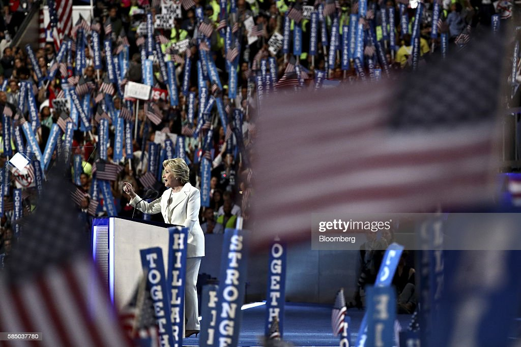 Hillary Clinton, 2016 Democratic presidential nominee, speaks during the Democratic National Convention (DNC) in Philadelphia, Pennsylvania, U.S., on Thursday, July 28, 2016. Division among Democrats has been overcome through speeches from two presidents, another first lady and a vice-president, who raised the stakes for their candidate by warning that her opponent posed an unprecedented threat to American diplomacy. Photographer: Andrew Harrer/Bloomberg via Getty Images