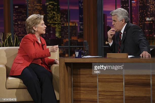 LENO Hillary Clinton Air Date Episode 3528 Pictured Senator Hillary Clinton during an interview with host Jay Leno on April 3 2008 Photo by Paul...