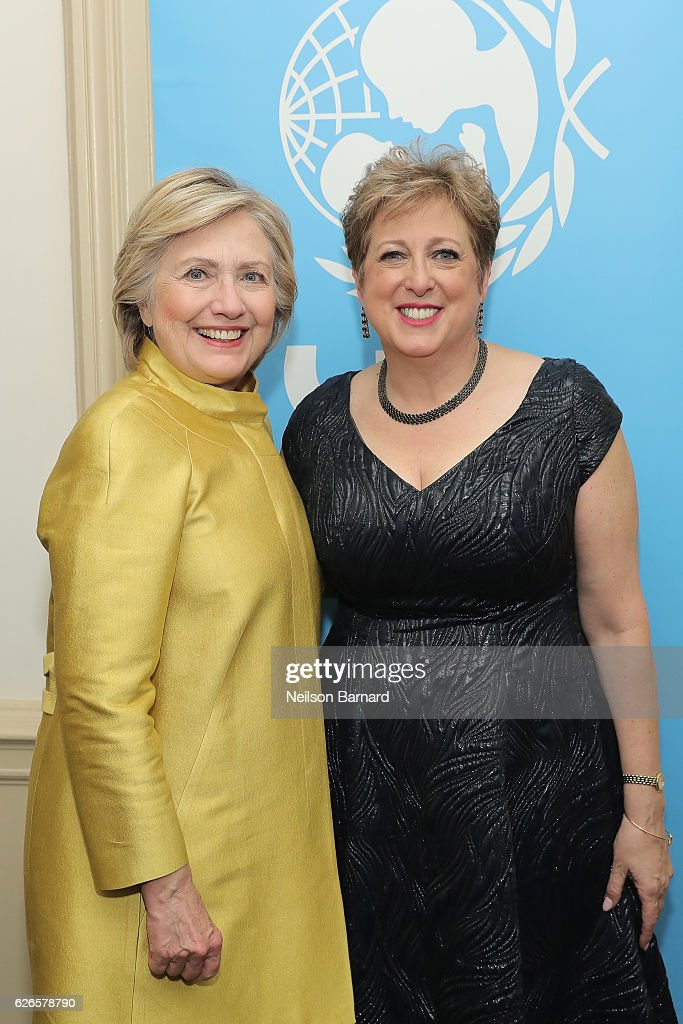Hillary Clinton and Caryl Stern pose backstage at the 12th annual UNICEF Snowflake Ball at Cipriani Wall Street on November 29, 2016 in New York City.