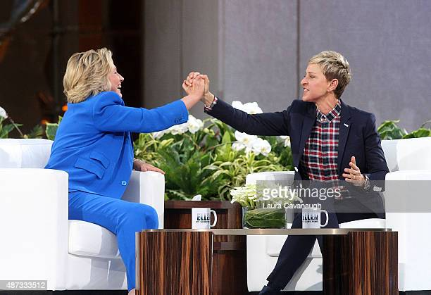 Hillary Clinton and Ellen DeGeneres attend 'The Ellen DeGeneres Show' Season 13 BiCoastal Premiere at Rockefeller Center on September 8 2015 in New...